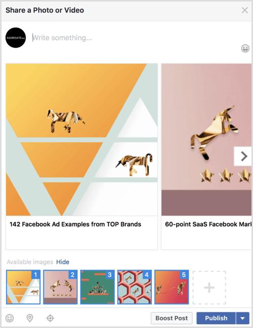 facebook carousel post example