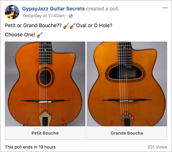 Facebook gif poll gauge audience interests example