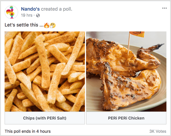 Facebook gif poll get customer feedback example