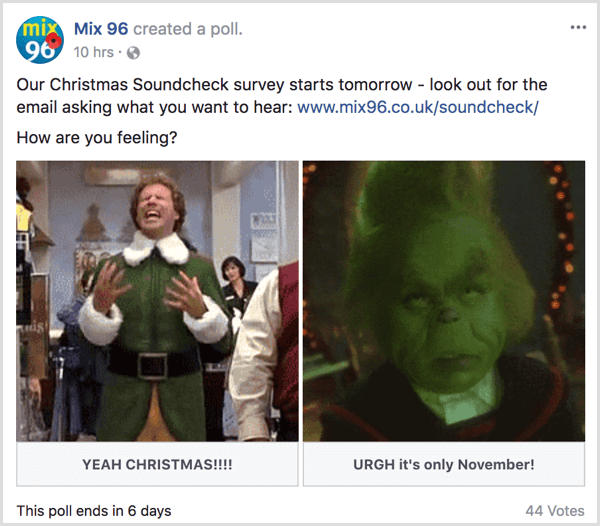 Facebook gif poll holiday theme example