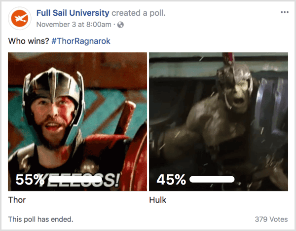Facebook gif poll pop culture example