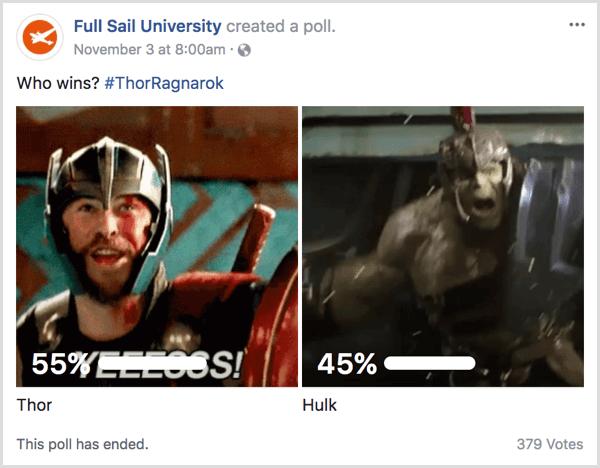 Facebook gif poll pop culture example