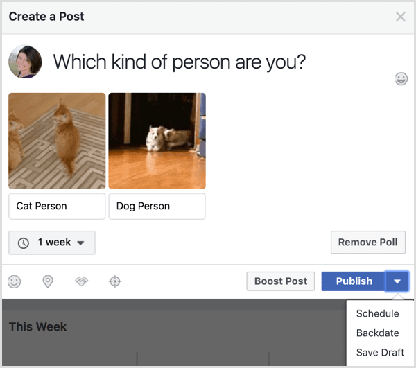 Facebook gif poll post publish