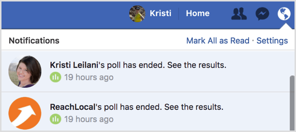 Facebook gif poll results notification