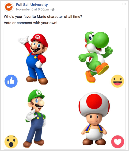 Facebook gif poll vote with reactions