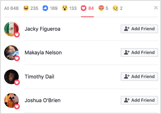 Facebook gif poll with reactions breakdown