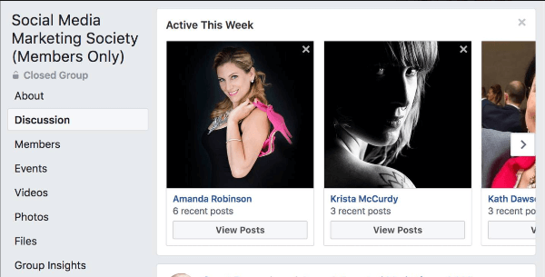 Facebook highlights which group members have been the most active this week in the group.