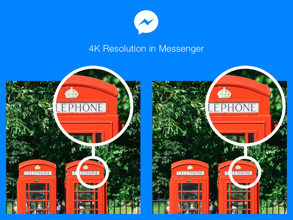 Facebook Messenger users in select countries can now send and receive photos at 4K resolution.