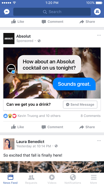 Facebook rolls out News Feed ads that open Messenger conversations.