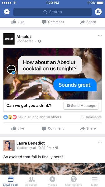 Facebook rolls out News Feed ads that open Messenger conversations.