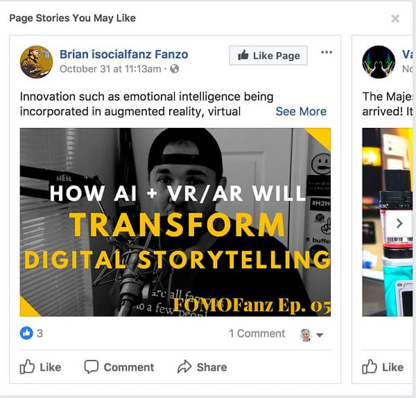 "Facebook recommends ""Page Stories You May Like"" between posts in your News Feed."