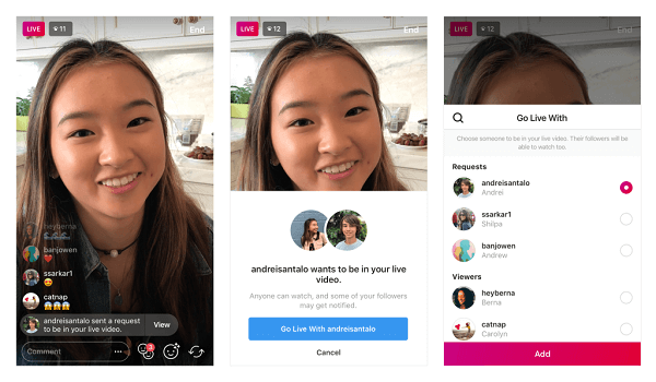 Instagram enables viewers to request to join a live broadcast with the tap of a button.