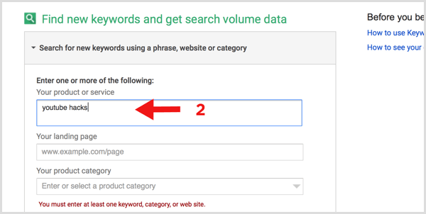Google Keyword Planner search for new keywords