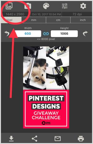 image size app view original image size