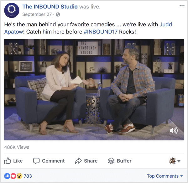 inbound studio Facebook interview example
