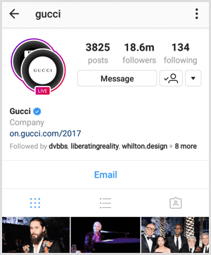Instagram Live broadcast indicator on profile