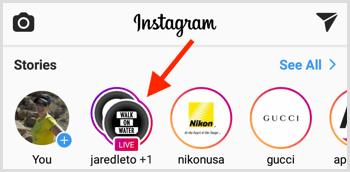 Instagram Live broadcast indicator top of screen