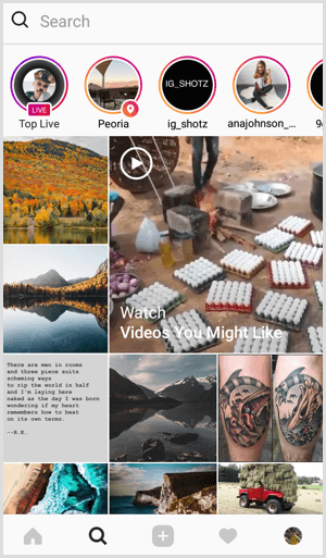 Instagram Live on Search and Explore tab