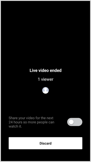 Instagram Live with Friends end and discard video