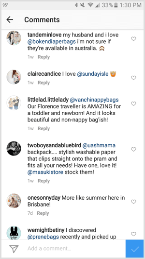 instagram tag business in comments