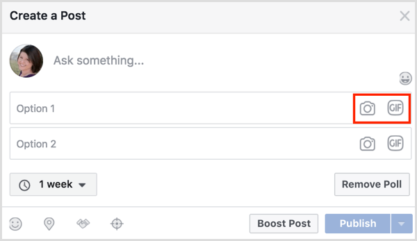 Facebook gif poll add two options