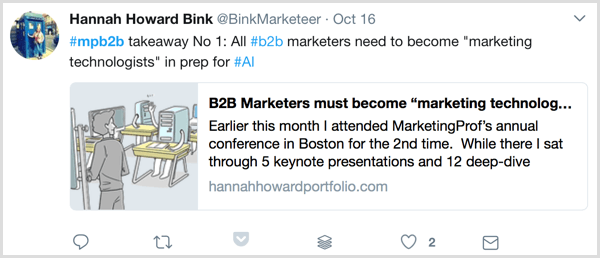 live blogging marketing profs b2b marketing forum twitter example