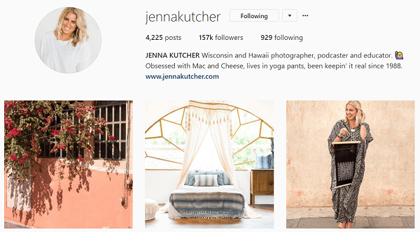 Jenna thinks of her Instagram feed like a magazine.