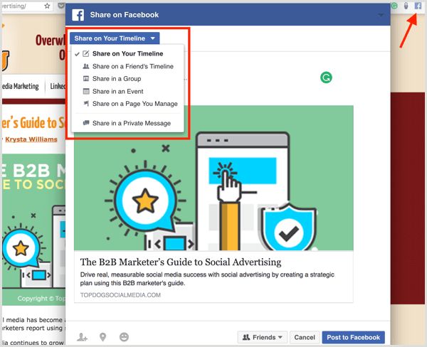 share on Facebook extension