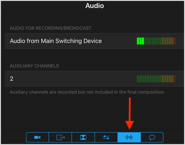 switcher studio audio for recording broadcast