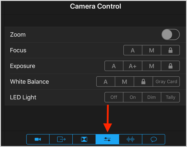 switcher studio camera control settings