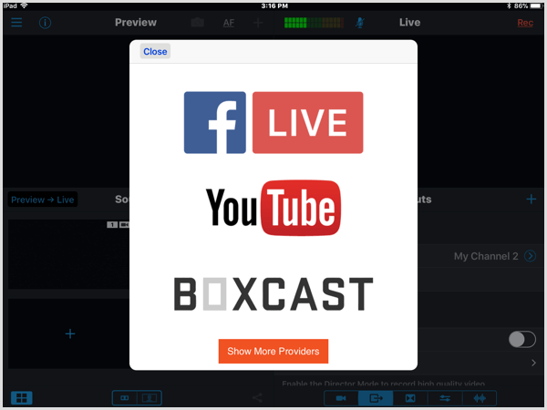 switcher studio connect facebook youtube