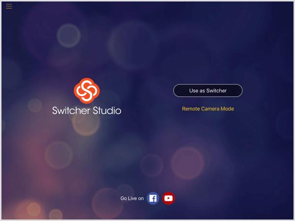 switcher studio main screen iOS