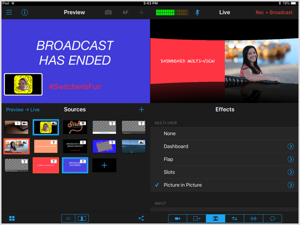 switcher studio multi-view layout