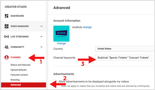 YouTube add channel keywords