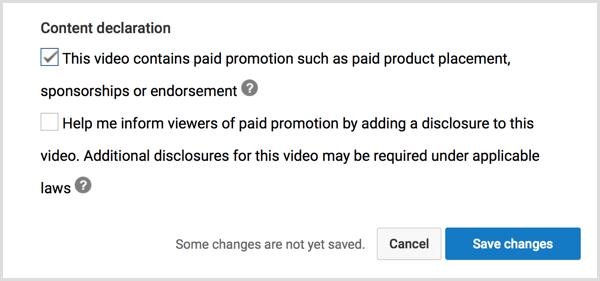 YouTube content declaration