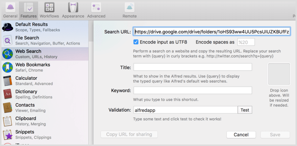 Alfred create shortcuts to Google Drive folders