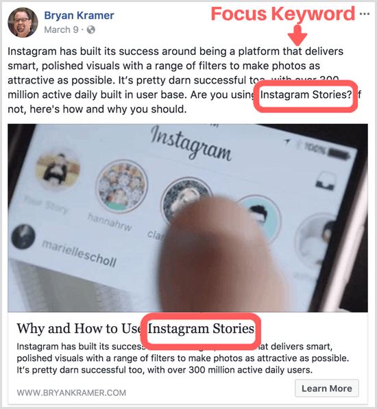 blog post focus keyword in social post