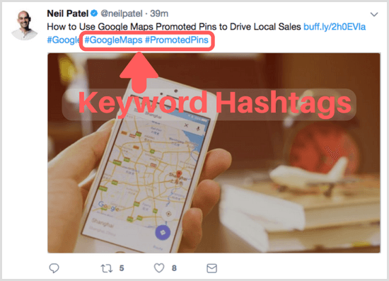 blog post focus keywords as hashtags