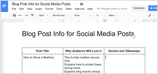 blog post key points to share in social posts