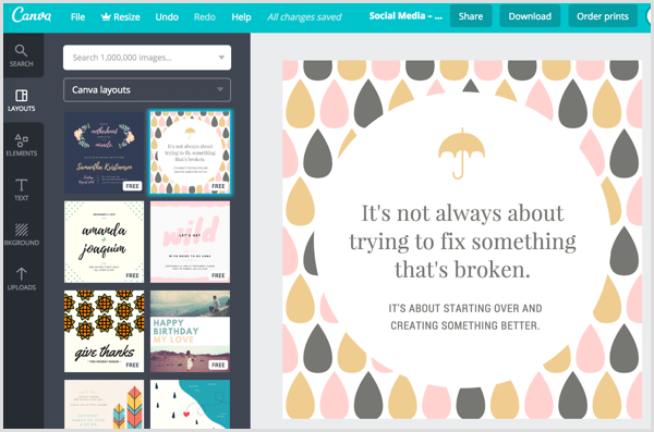 Canva social media layouts templates