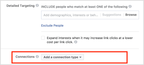Facebook ad targeting connections