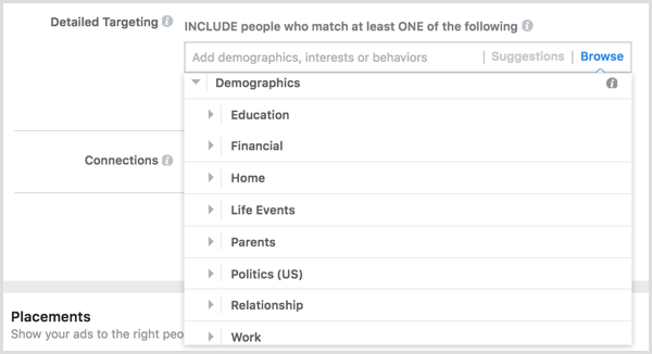 Facebook ad targeting demographics