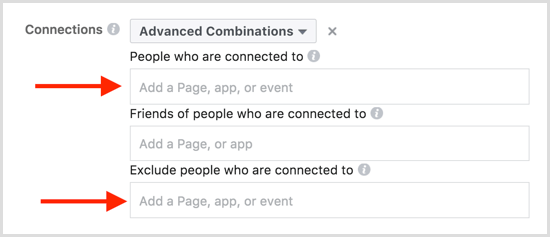 Facebook ad targeting events advanced combinations