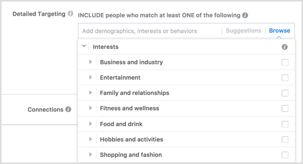 Facebook ad targeting interests