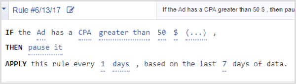 Facebook Ads Manager automated rule cpa greater than