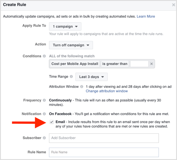 Facebook Ads Manager automated rule email notification