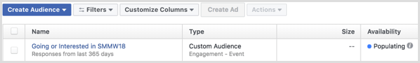 Facebook Ads Manager create ad with custom audience