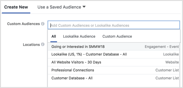 Facebook Ads Manager select custom audience in ad targeting