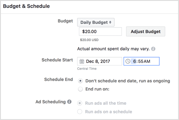 Facebook create ad campaign schedule