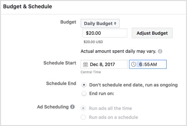 Facebook create ad campaign schedule